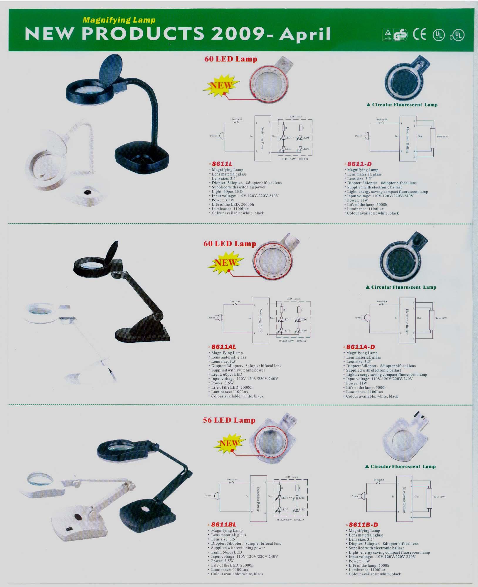 Ledu Black Fluorescent Professional Clamp-On Magnifying Lamp